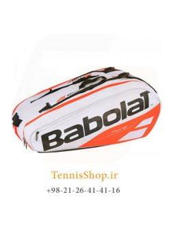 ساک تنیس بابولات سری Pure Strike مدل 12 راکته رنگ سفید نارنجی