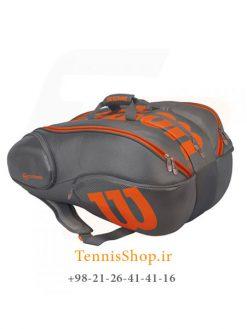 ساک تنیس ویلسون سری Vancouver مدل 15 راکته رنگ خاکستری نارنجی
