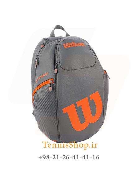 کوله پشتی تنیس ویلسون سری Vancouver رنگ خاکستری نارنجی