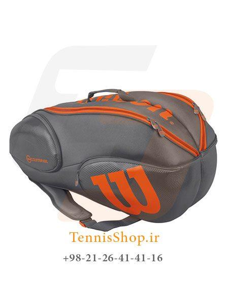ساک تنیس ویلسون سری Vancouver مدل 9 راکته رنگ خاکستری نارنجی