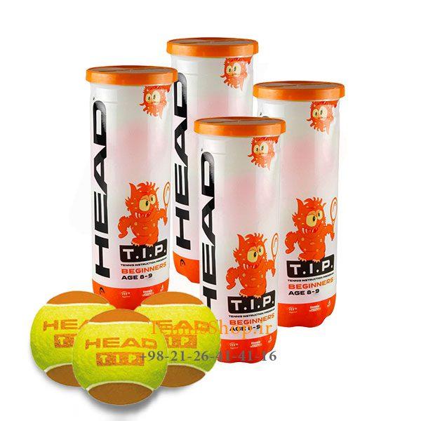4 قوطی سه تایی توپ تنیس نارنجی برند HEAD مدل TIP 600x600 - 4 قوطی سه تایی توپ تنیس نارنجی برند HEAD مدل TIP