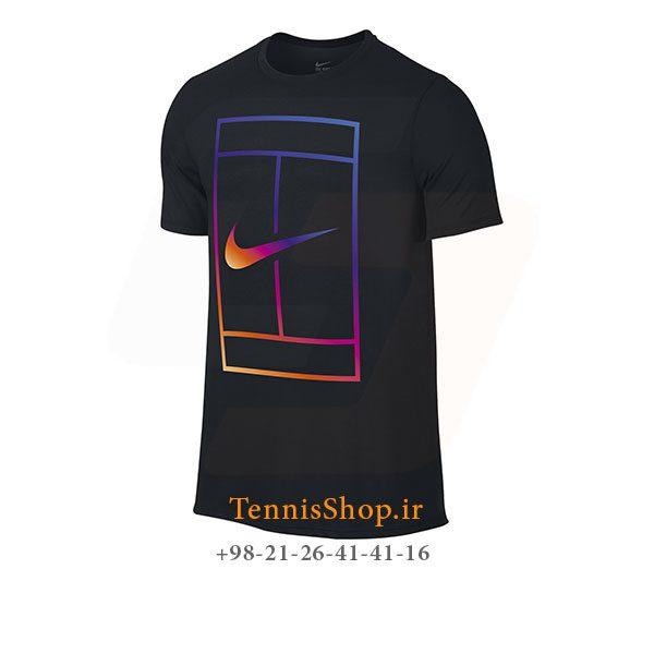 تیشرت تنیس مشکی برند Nike مدل COURT IRIDESCENT