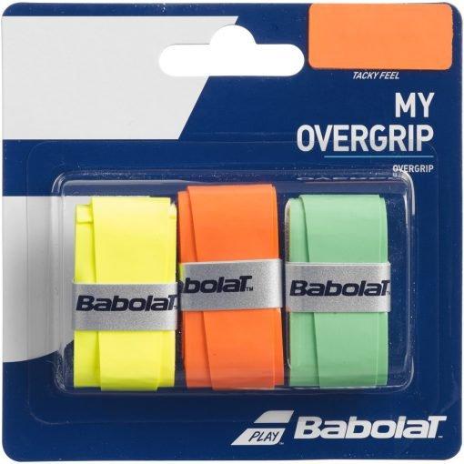 اورگریپ راکت تنیس بابولات سری My OverGrip مدل 3 عددی رنگ نارنجی سبز فسفری