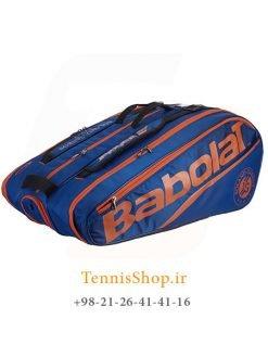 ساک تنیس بابولات سری Pure مدل 12 راکته ROLAND GARROS رنگ آبی نارنجی