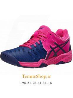 کفش تنیس زنانه اسیکسسری 7 GEL RESOLUTION مدل GS رنگ صورتی سرمه ای