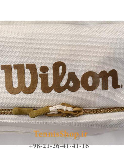 ساک تنیس ویلسون سری Federer Dna مدل 12 راکته رنگ سفید طلایی