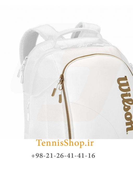 کوله پشتی تنیس ویلسون سری Dna Federer رنگ سفید طلایی