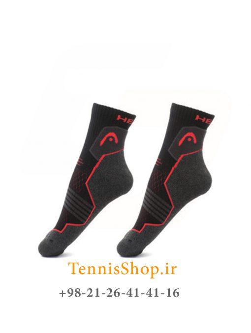 جوراب تنیس هد سری HIKING QUARTER مدل 2 جفتی مشکی قرمز
