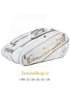 ساک تنیس بابولات سری Wimbledon مدل 12 راکته رنگ سفید طلایی