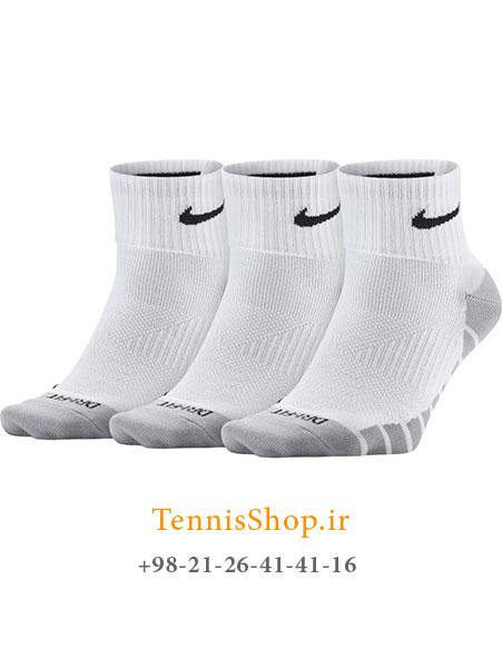 جوراب تنیس نایک سری Dry Lightweight Quarter مدل 3 عددی رنگ سفید