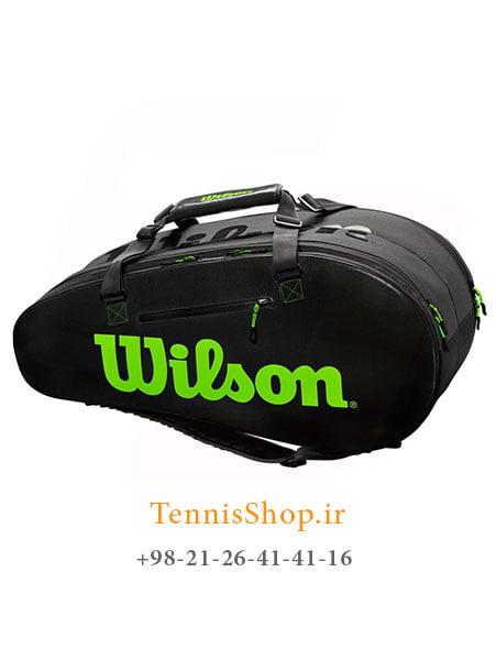ساک تنیس ویلسون سری Super Tour 2 مدل 9 راکته رنگ مشکی سبز