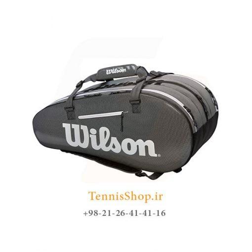 ساک تنیس ویلسون سری Tour 3 مدل 15 راکته رنگ خاکستری