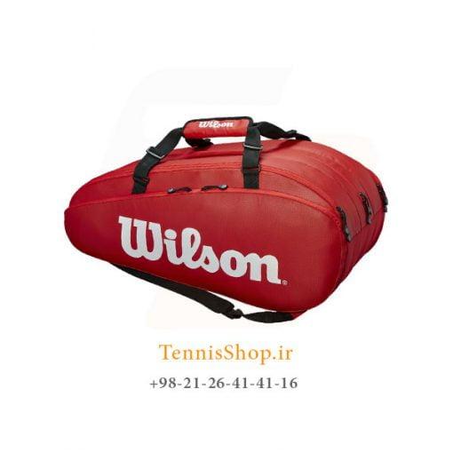 ساک تنیس ویلسون سری Tour 3 مدل 15 راکته رنگ قرمز