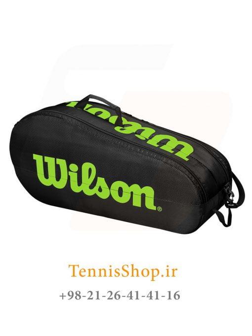 ساک تنیس ویلسون سری TEAM 2 مدل 6 راکته رنگ مشکی سبز