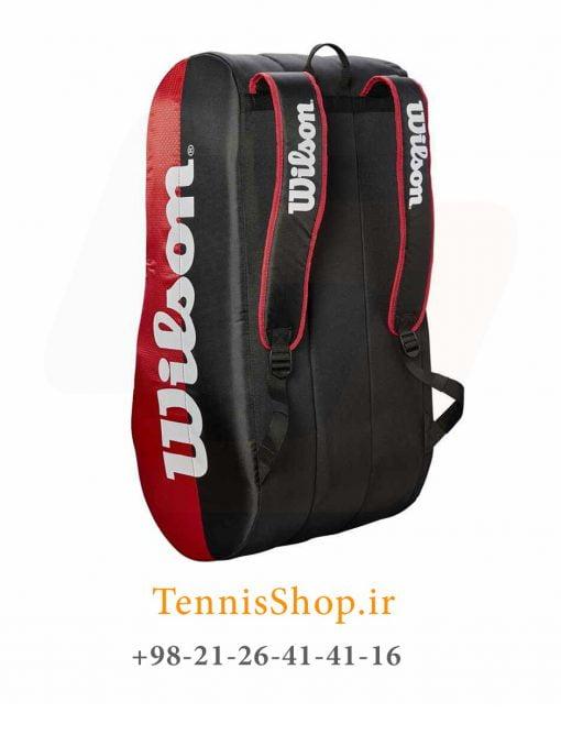 ساک تنیس ویلسون سری TEAM 3 مدل 15 راکته رنگ قرمز مشکی
