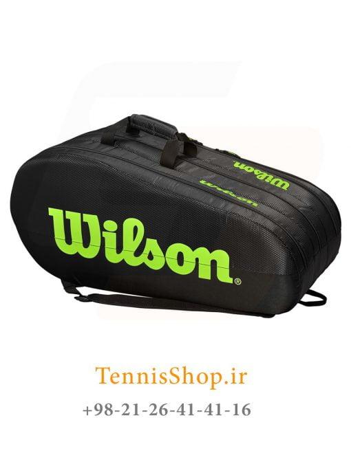ساک تنیس ویلسون سری TEAM 3 مدل 15 راکته رنگ مشکی سبز