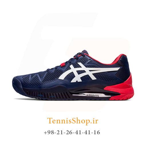 کفش تنیس اسیکس سری 8 GEL RESOLUTION رنگ سرمه ای قرمز